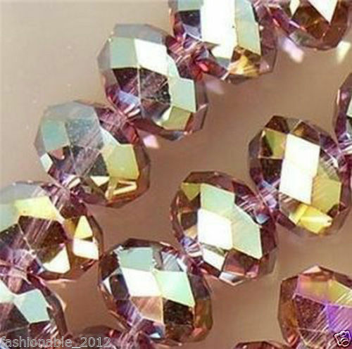 À faire soi-même Jewelry Faceted 100pcs 4x6mm Washer Verre Perles de Cristal Violet Rouge Aérographe