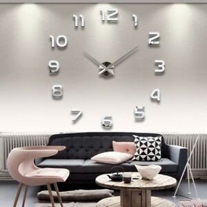 Details zu Designer Wanduhr Wohnzimmer Edelstahl Wandtattoo Deko XXL 3D
