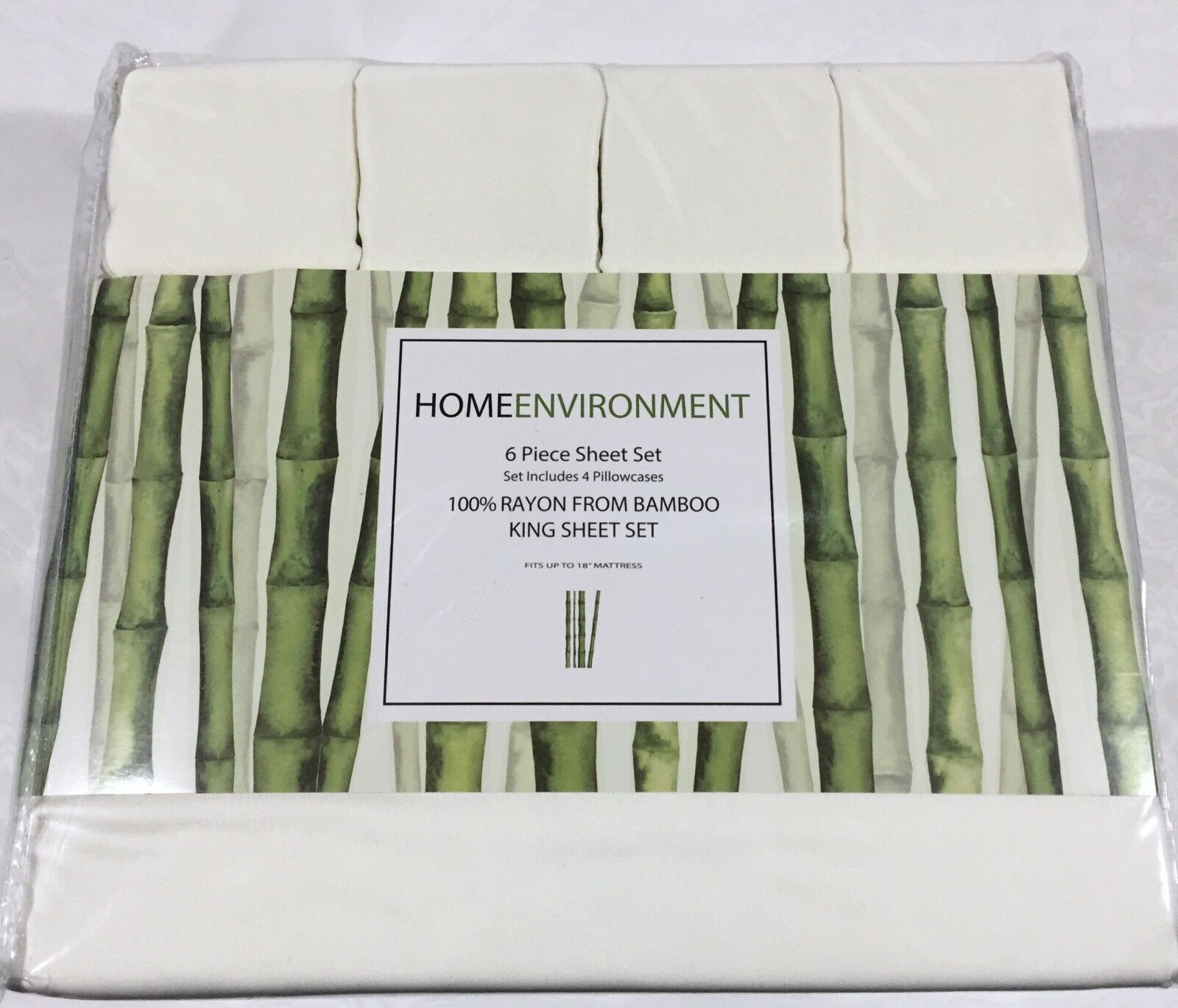 6PC Sheet Set 100% Silky Bamboo Home Environment 4 Pillowcases Queen, King Ivory