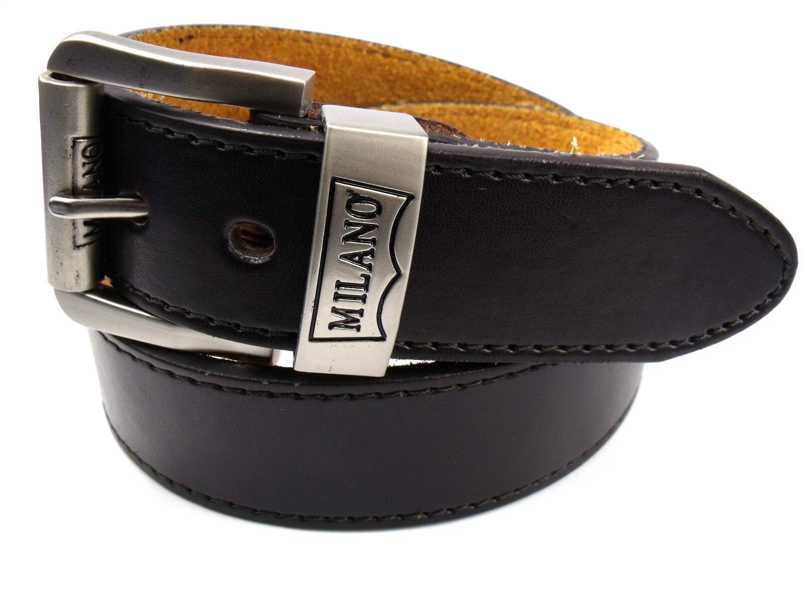 Herren Neue Braune 1.5'' Ledergürtel mit Silber Schnalle Milano Stark Smart