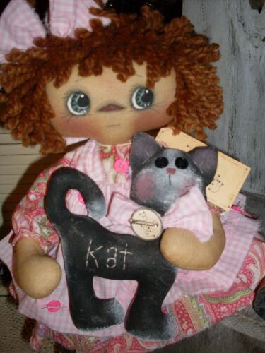 Primitive raggedy ann style doll Here Kitty Kitty PAPER PATTERN #137