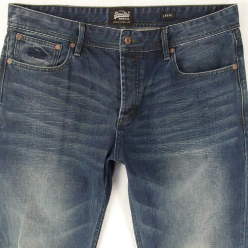 Mens SuperDry LOOSE Wide-Leg Blue Jeans W38 L34