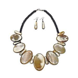 Fashion-Buffalo-Horn-Necklace-Bib-Chunky-Genuine-Horn-Natural-Jewelry-Earring