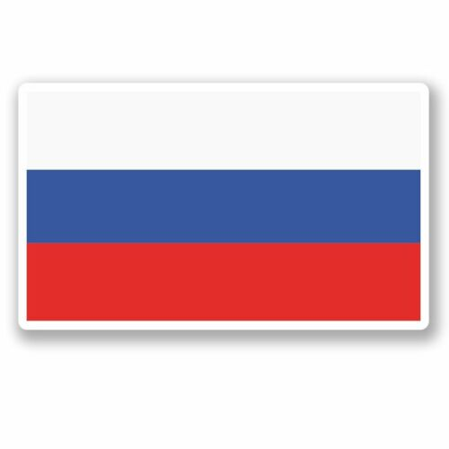 2 X bandera rusa Pegatina de vinilo Laptop Viaje Equipaje Coche #5261