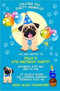 Children Personalised PUG DOG  Birthday Party invitations x 10 - Bexleyheath, Kent, United Kingdom - Children Personalised PUG DOG  Birthday Party invitations x 10 - Bexleyheath, Kent, United Kingdom