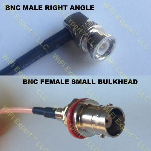 USA-CA RG316 DS BNC MALE ANGLE to BNC FEMALE SM BULKHEAD Coaxial RF Pigtail Cabl