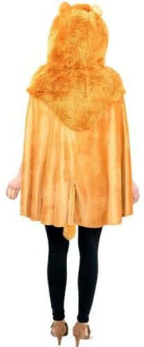 Ladies Furry Hooded Lion Cape Circus Book Day Film Fancy Dress Costume Outfit