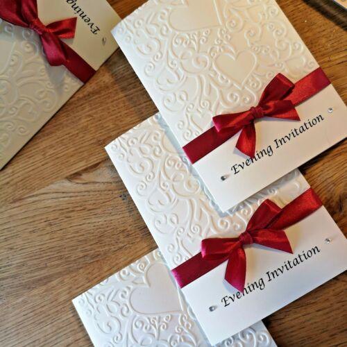 personalised diamante//pearls Wedding or Evening Invitations EMBOSSED