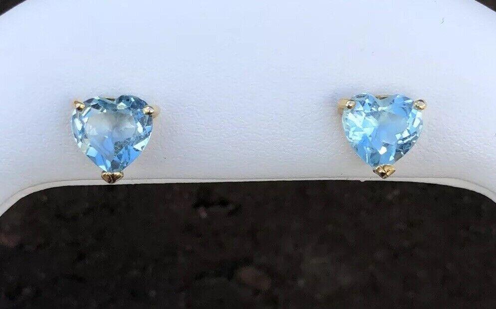 14K gold HEART SHAPED blueE TOPAZ STUD EARRINGS