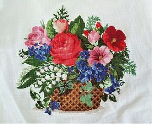 New-Finished-Cross-Stitch-Needlepoint-034-Flowers-Basket-034-Wall-Home-Decor-gifts