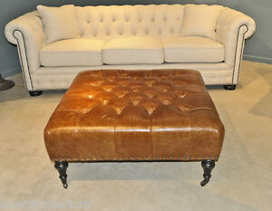 New Huge Chesterfield Leather Ottoman English Edwardian Style