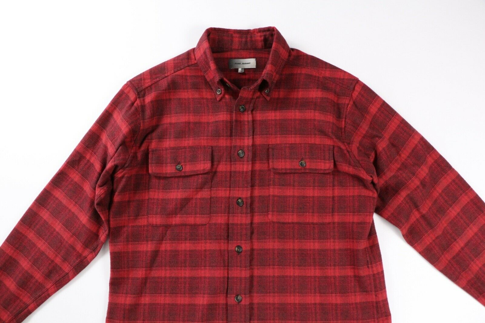 Isabel Marant Mens Red Plaid Oversized Cotton Flannel Shirt S Small