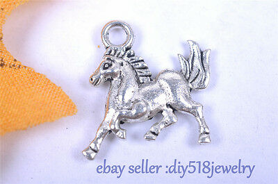 10s 15*16*2mm 3D horse Pendant Charm style Tibet silver diy jewelry making 7070