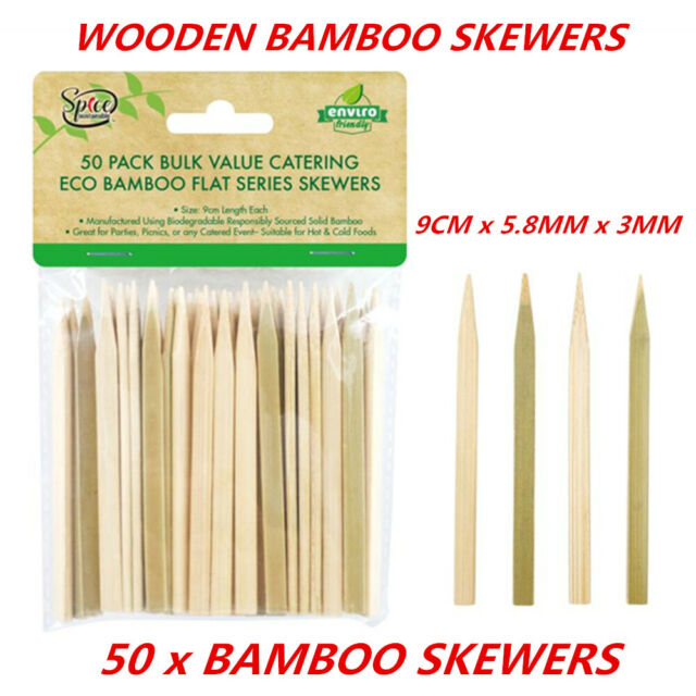50 x BBQ Skewers Bamboo Wood Stick Paddle Grill Party Fruit Food Outdoor Cooking