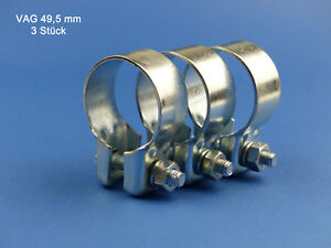 Breitbandschelle 3 x Auspuffschelle Clamp VAG Ø 45,5 mm Montageschelle