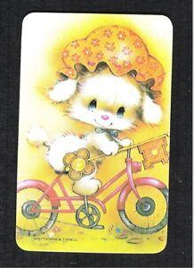 Cute Puppy Watching Snail Vintage Swap Card BLANK BACK