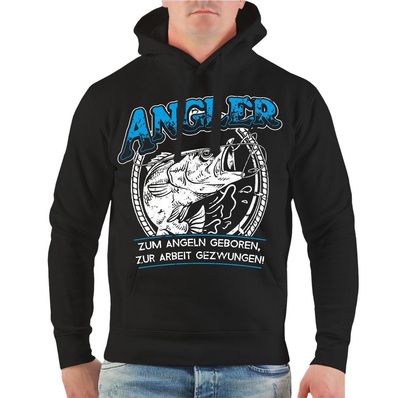 Zum Angeln geboren.... Kapuzenshirt S-2XL Fischen Angeln Sport Fun