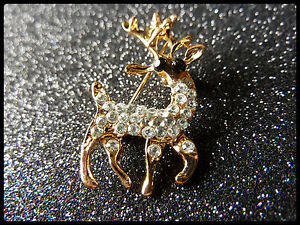 Christmas Vintage Brooch Pin Badge Stag Reindeer silver colour