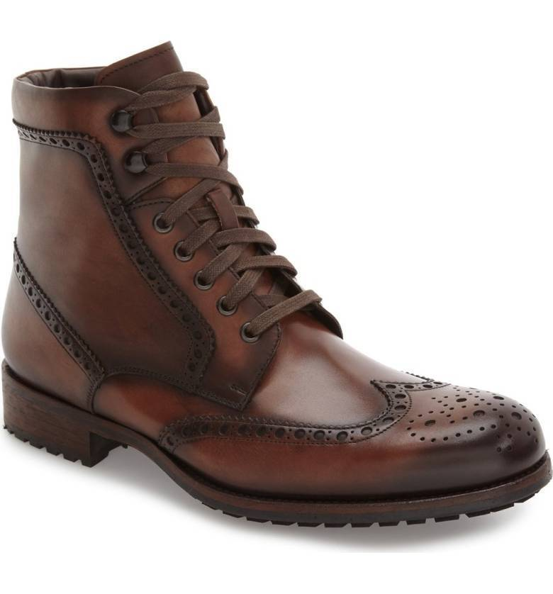 MEN HANDMADE WING TIP BROGUE LACE UP Schuhe MENS BROWN ANKLE PURE LEATHER BOOT