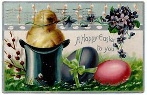 A-Happy-Easter-Chick-and-Eggs-Tuck-Embossed-Vintage-Postcard-1910-Santa-Ana-CA