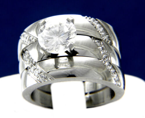 Details about  /Engagement Ring Womens Simulated Diamond Stainless Steel Wedding Band Bridal Set
