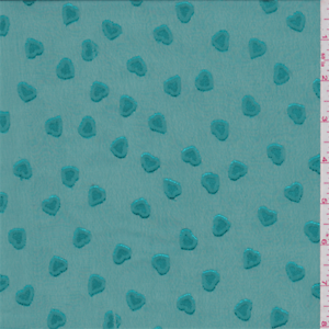 Teal-Green-Heart-Embroidered-Chiffon-Fabric-By-The-Yard