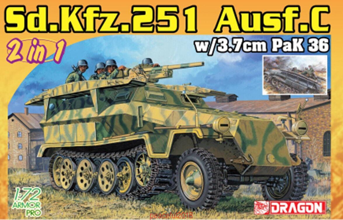 DRAGON 7606 1 72 Armor Pro Sd.Kfz.251 Ausf.c w 3.7cm Pak 36 2 in 1