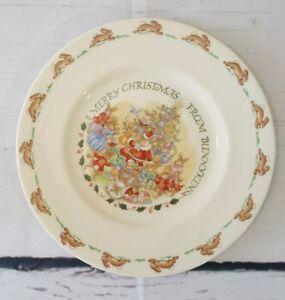 Royal-Doulton-English-Fine-Bone-China-Bunnykins-Plate-Merry-Christmas-8-034