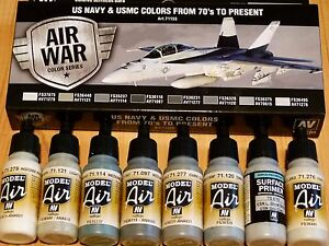 AV-Vallejo-US-NAVY-amp-USMC-COLORES-DE-ANOS-70-A-PRESENT-Acrilico-Set-Para-Modelos