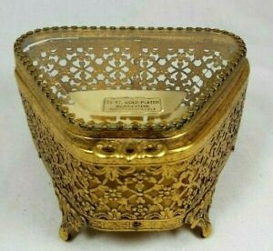 Vintage-Ormolu-Footed-Jewelry-Casket-Beveled-Glass-Triangle-24KT-Gold-Plated