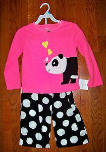 Girls Carter's 2pc Pink Black White Fleece Polka Dot Panda Bear Pajamas 2t Girls' Clothing (newborn-5t) Obedient New Clothing, Shoes & Accessories