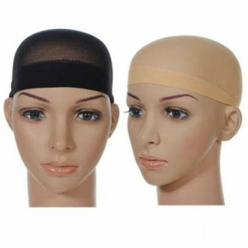 2 x Wig Cap Breathable Stretchable Stretch Stocking wigcaps Nude Beige Black