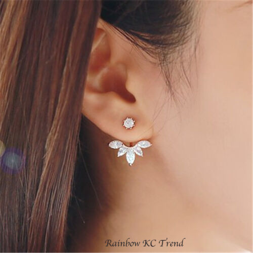 Crystal Rose Double Sided Silver Rose Gold-Gold Stud Earrings Zirconia Flower