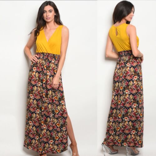 NWT Medium Women's Mustard Floral Maxi Dress Summer Boutique Top
