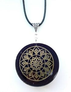 Orgone-Orgonite-pendant-Mandala-Quartz-steel-protection-energy-positive-Unisex