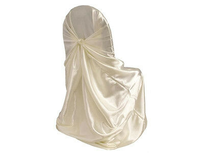 Satin Universal Chair Cover Self Tie Wedding Banquet Party Decor - 5 colors!