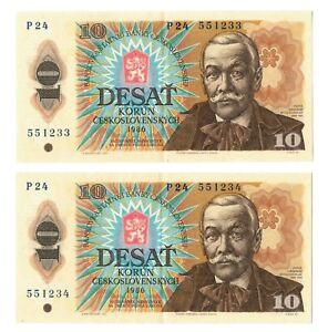 Tchécoslovaquie 2x10 Korun Billet 1986 V/f De Série Consécutifs No. S-afficher Le Titre D'origine 8uykgund-08003520-548260940
