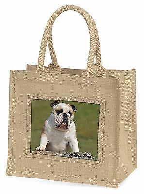 Bulldog 'Liebe dich Papa' Stimmung Große Natürliche Jute-einkaufstasche Chri,