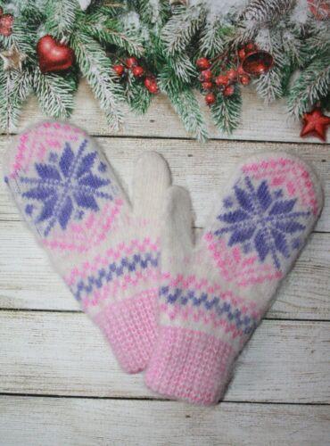 NEW Kids winter mittens homemade knitted 100/% sheep wool
