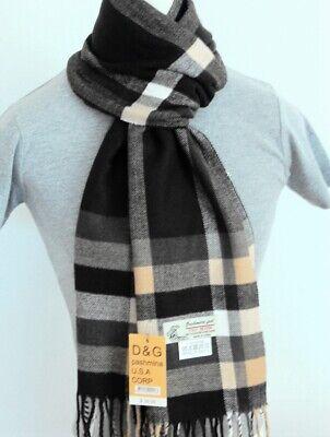 DG Men/'s Winter,Scarf Check-Plaid White Black,Cashmere Feel,Warm Soft*Unisex