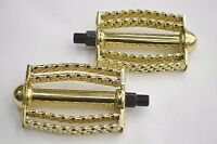 Gold Double Round Square Twisted Pedal Low Rider Bike Bicycle 1/2 Axle