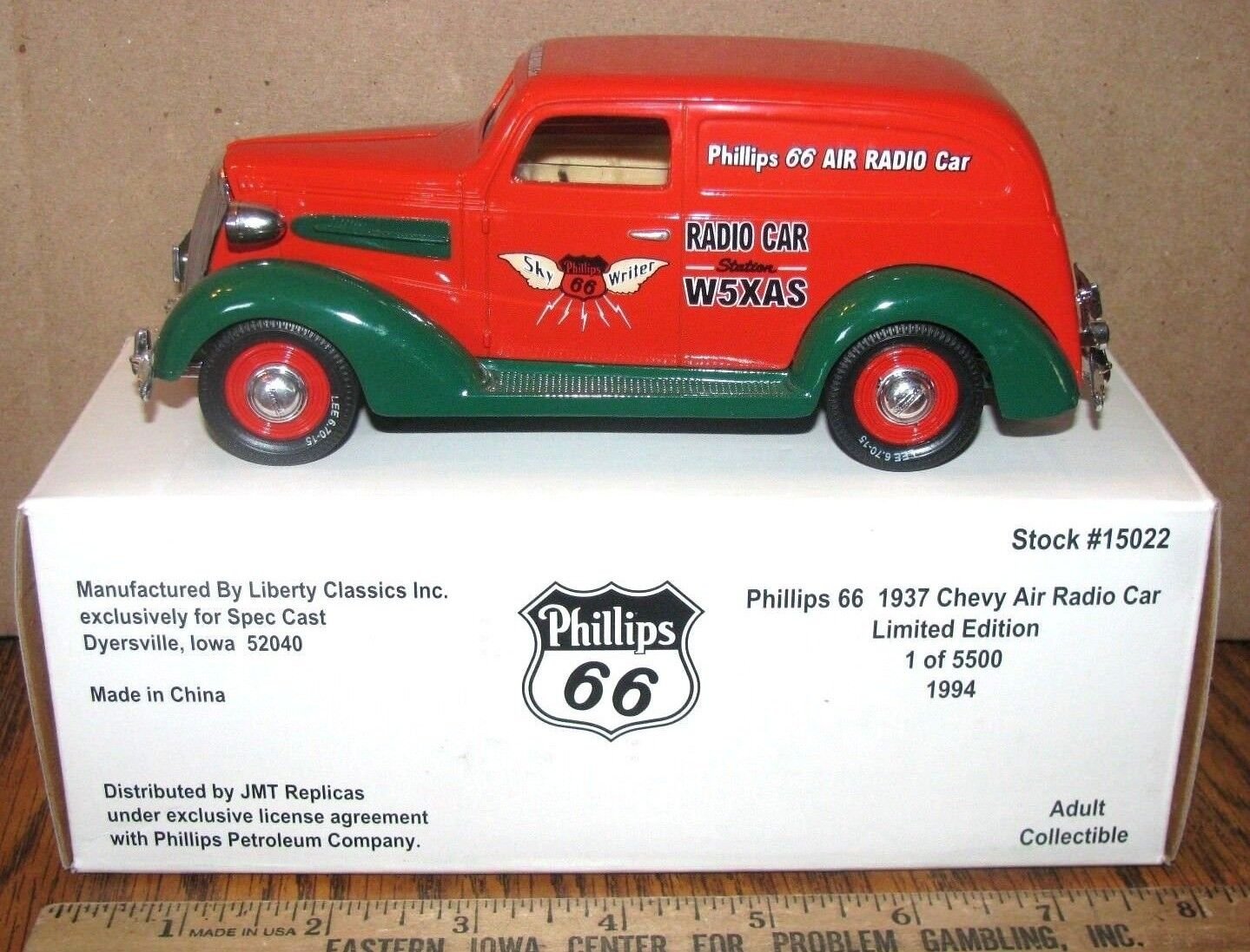 Spec Cast Phillips 66 66 66 1937 Chevy Air Radio Car Bank Limited Ed Toy 1994 Liberty 301c0e