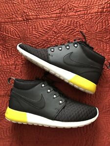new products ea8ed 2c431 Nike Roshe Run Sneakerboot Men's Sz 9.5 Black Base Grey Yellow ...