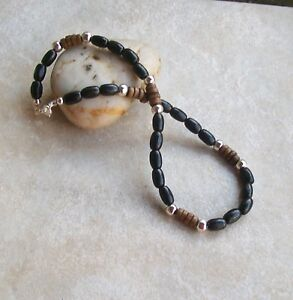 Details About Mens Wood Beaded Necklace Black Wood Brown Wood Silver Plated Beads