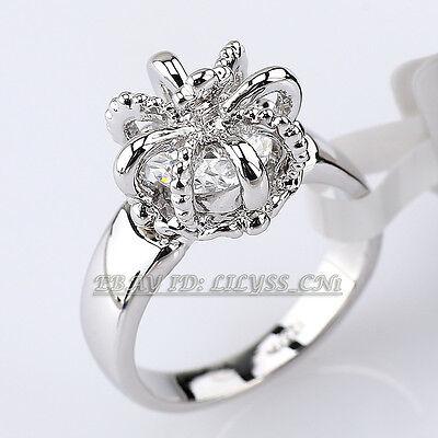 A1-R092 Fashion Crown Cross Ring 18KGP CZ Rhinestone Crystal Size 6.5-7