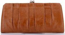Hobo International Allison Leather Large Kisslock Clutch Wallet Caramel