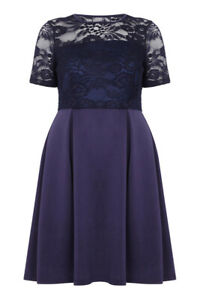 Mela-Loves-London-Women-039-s-Navy-Lace-Top-Dress-Size-UK-20-New-With-Tags