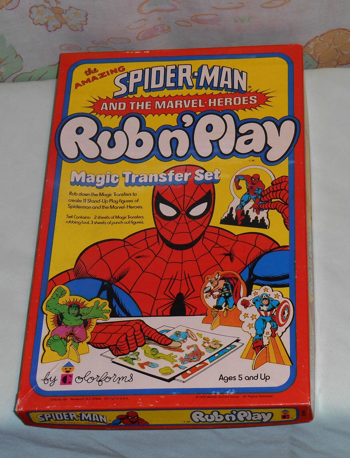 Vintage SPIDER-MAN & Marvel Heroes RUB N' PLAY magic transfer set unused in box