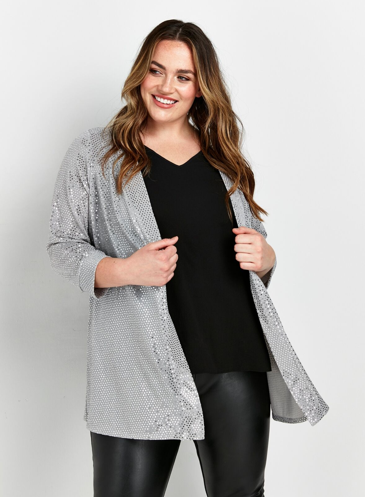 Evans Womens Silver Sequin Jacket Loose Fit Sparkly Fashion Cardigan Coat Mesh
