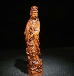 Collect-Chinese-Old-Boxwood-Carving-Kwan-yin-basket-Guan-Yin-Boddhisattva-Statue